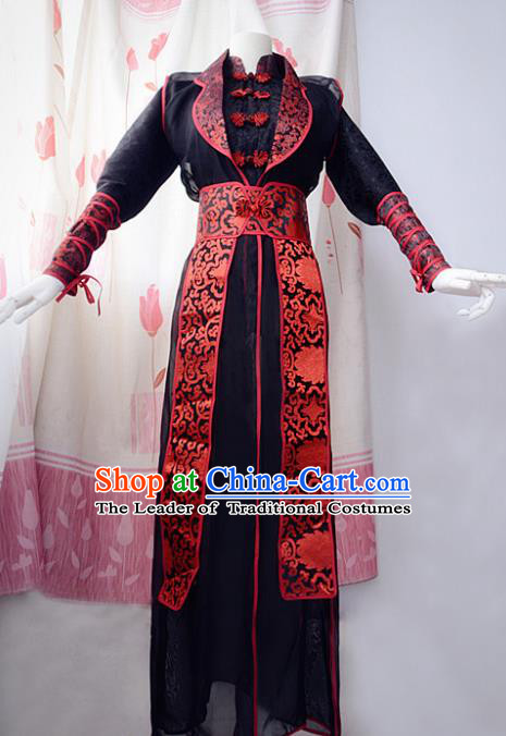 Chinese Ancient Cosplay Scholar Black Costume Han Dynasty Assassin Swordsman Clothing for Men