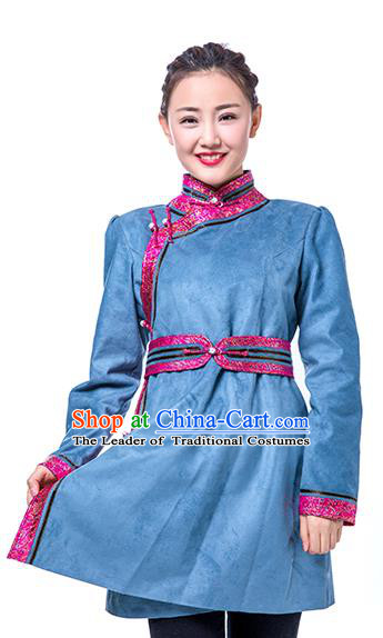Chinese Traditional Female Blue Suede Fabric Ethnic Costume, China Mongolian Minority Folk Dance Clothing for Women