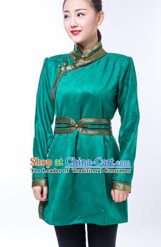 Chinese Traditional Female Green Suede Fabric Ethnic Costume, China Mongolian Minority Folk Dance Clothing for Women