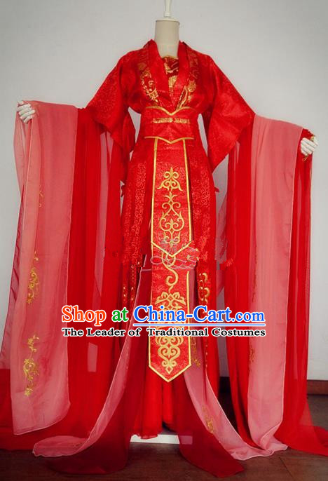 Chinese Ancient Cosplay Swordswoman Wedding Costume Traditional Han Dynasty Princess Red Hanfu Dress for Women