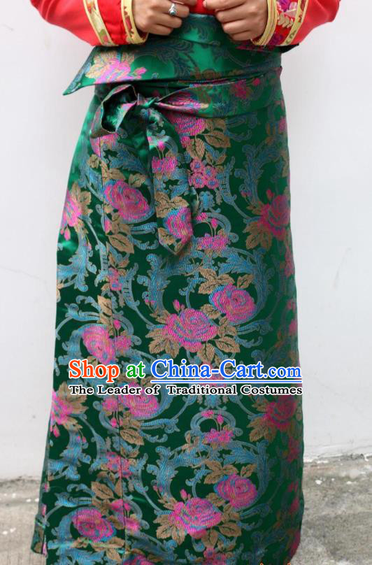 Chinese Traditional Minority Costume Zang Nationality Green Brocade Bust Skirt for Women