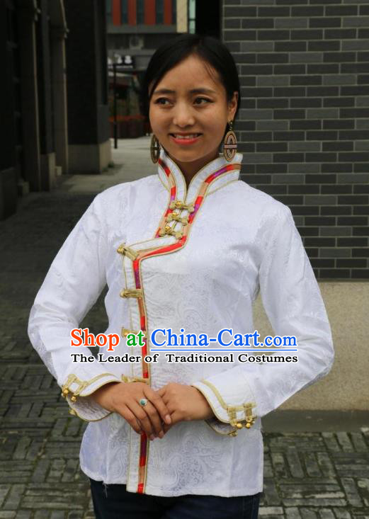 Chinese Traditional Minority Dance Costume Zang Nationality White Blouse for Women