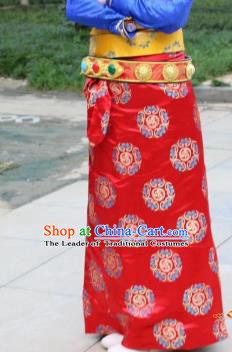 Chinese Traditional Minority Dance Costume Zang Nationality Red Brocade Skirt for Women