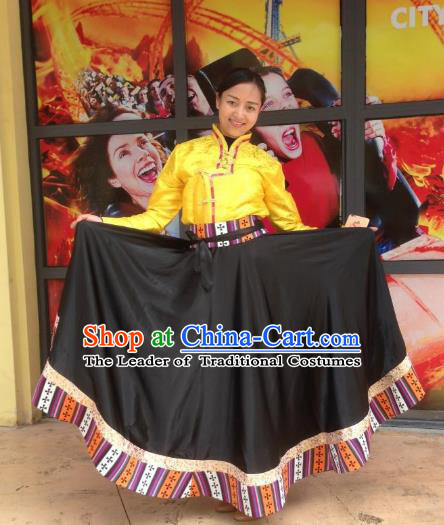 Chinese Traditional Minority Dance Costume Zang Nationality Black Big Swing Skirt for Women