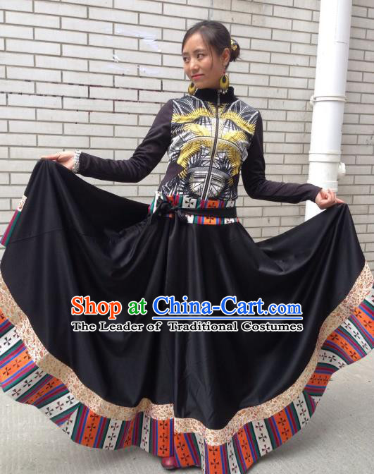 Traditional Chinese Zang Nationality Dance Costume China Tibetan Minority Enthic Clothing