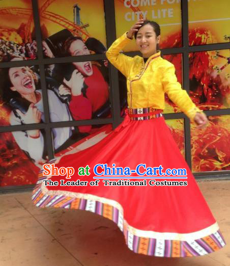 Chinese Traditional Minority Dance Costume Zang Nationality Red Big Swing Skirt for Women