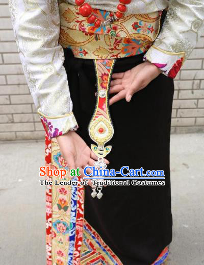 Chinese Zang Nationality Handmade Waist Accessories Tibetan Minority Enthic Waistband for Women