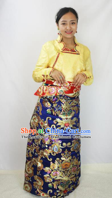 Chinese Traditional Minority Dance Costume Zang Nationality Tibetan Minority Navy Skirt for Women