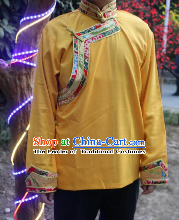 Chinese Traditional Tibetan Minority Dance Costume Zang Nationality Yellow Shirt for Men