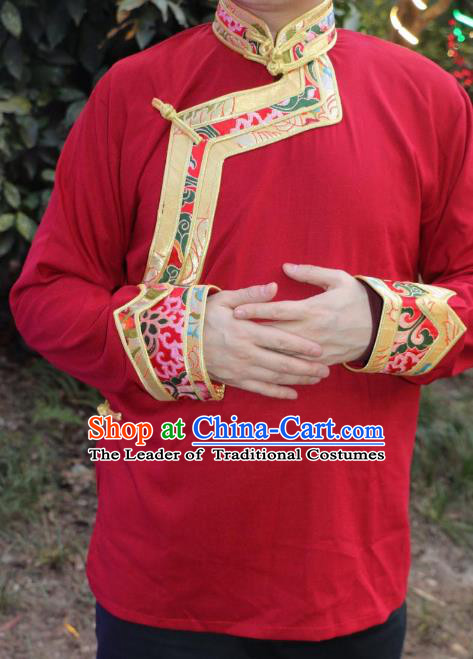 Chinese Traditional Tibetan Minority Dance Costume Zang Nationality Red Shirt for Men