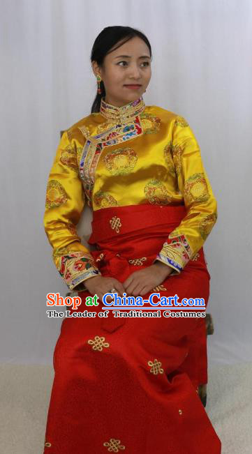 Chinese Traditional Minority Dance Costume Zang Nationality Clothing Tibetan Blouse and Skirt for Women