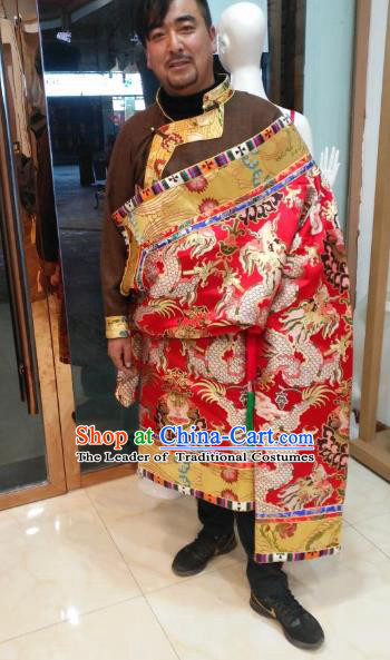 Chinese Traditional Tibetan Minority Dance Costume Zang Nationality Red Tibetan Robe for Men