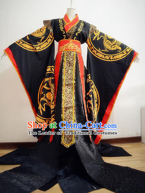 Chinese Ancient Cosplay King Costume Han Dynasty Emperor Embroidered Dragons Clothing for Men