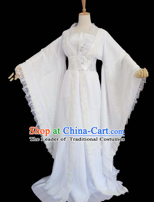 Chinese Ancient Cosplay Fairy Swordswoman White Hanfu Dress Traditional Tang Dynasty Princess Costume for Women