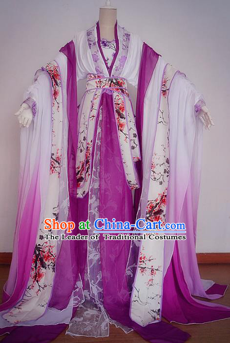 Chinese Ancient Cosplay Fairy Dance Costume Tang Dynasty Princess Purple Hanfu Dress for Women