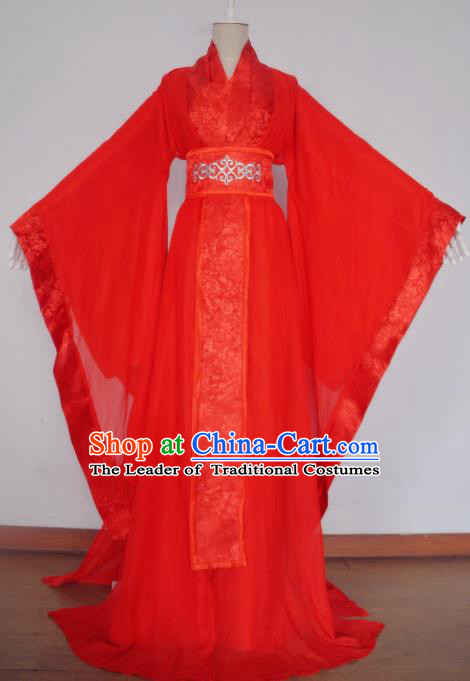 Chinese Ancient Cosplay Fairy Wedding Costume Traditional Han Dynasty Imperial Consort Red Hanfu Dress for Women