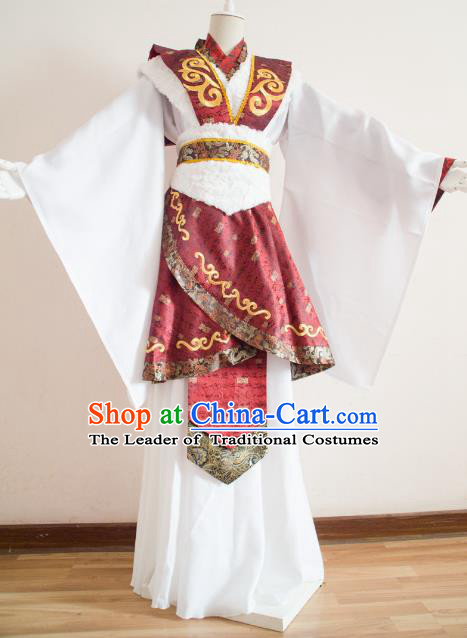 Chinese Ancient Cosplay Royal Highness Embroidered Costume Qin Dynasty Swordsman Clothing for Men