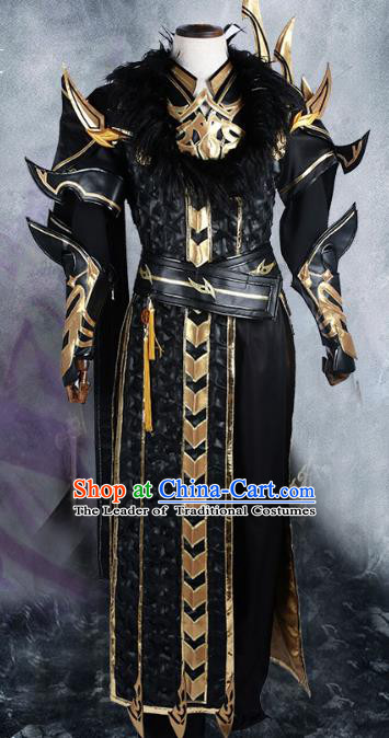 Chinese Ancient Cosplay Warrior Costume Nobility Childe Swordsman Black Body Armour Clothing for Men