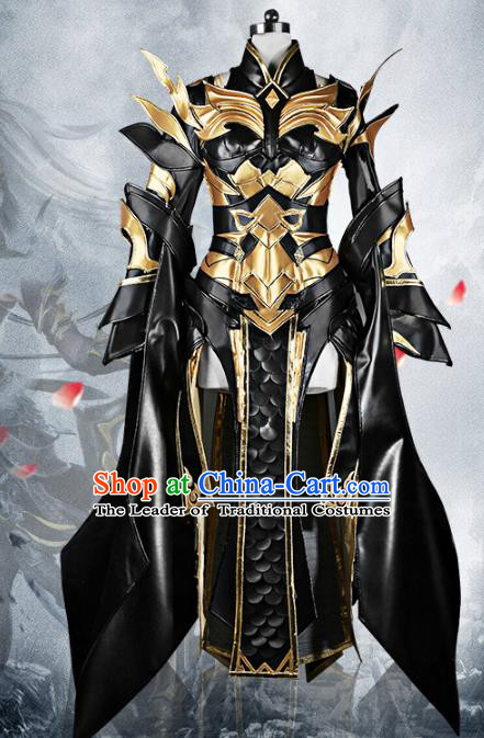 Chinese Traditional Ancient Swordswoman Female General Black Armour Costume and Boots for Women