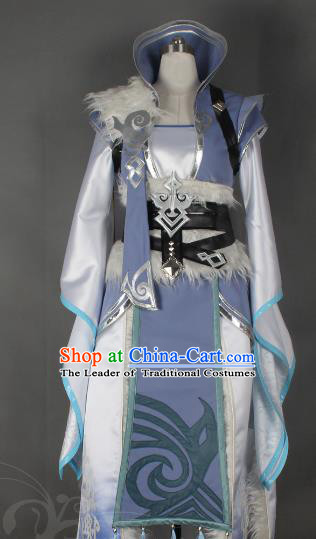 Chinese Traditional Ancient Female Blade Clothing Cosplay Swordswoman Lilac Costume for Women