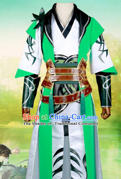 Chinese Ancient Nobility Childe Green Costume Cosplay Swordsman Clothing for Men