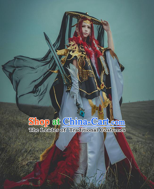 Chinese Ancient General Warrior Costume Cosplay Swordsman Clothing for Men