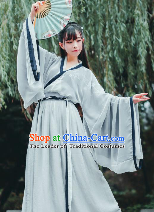 Chinese Traditional Ancient Nobility Lady Clothing Jin Dynasty Scholar Hanfu Dress for Women