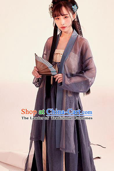 Chinese Traditional Ancient Song Dynasty Young Lady Embroidered Costumes Hanfu Dress for Women