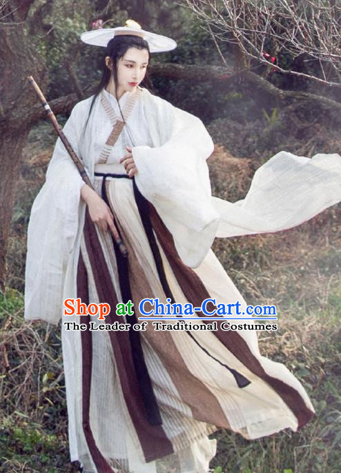 Chinese Traditional Ancient Jin Dynasty Swordswoman Embroidered Costumes Hanfu Dress for Women