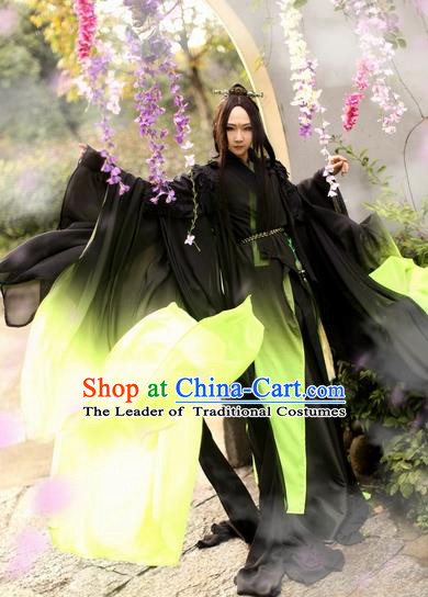 Chinese Ancient Cosplay Costume Swordsman Hanfu Black Clothing for Men