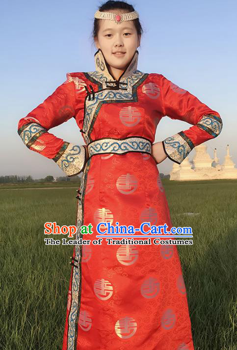 Chinese Mongol Nationality Female Ethnic Costume, Traditional Mongolian Folk Dance Red Mongolian Robe for Women