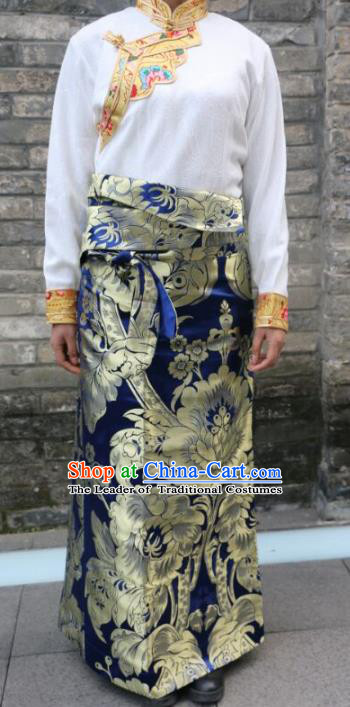 Chinese Traditional Minority Dance Costume Navy Tibetan Skirt Zang Nationality Clothing for Women