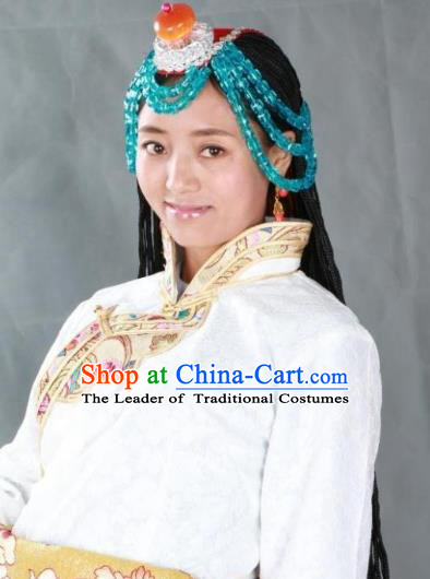 Chinese Zang Nationality Handmade Hair Accessories Tibetan Minority Headwear for Women