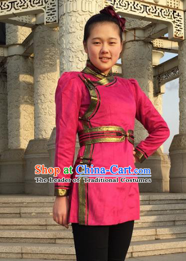 Chinese Traditional Female Ethnic Costume Rosy Suede Fabric Mongolian Robe, China Mongolian Minority Folk Dance Clothing for Women