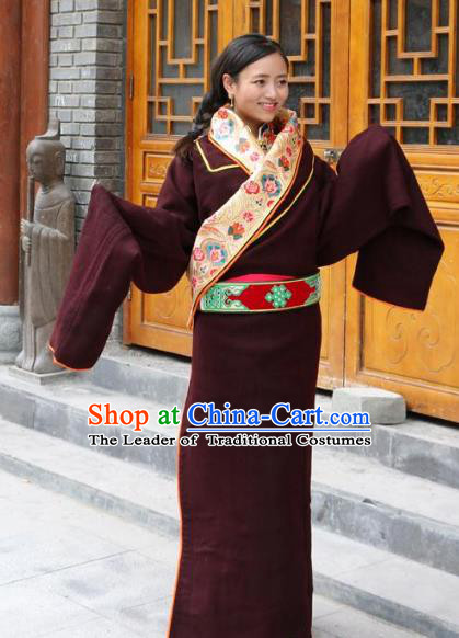 Chinese Traditional Minority Dance Costume Tibetan Robe Zang Nationality Clothing for Women