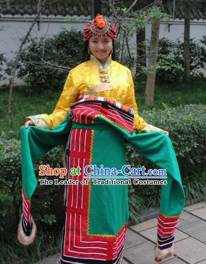 Chinese Traditional Minority Dance Costume Green Tibetan Robe Zang Nationality Clothing for Women
