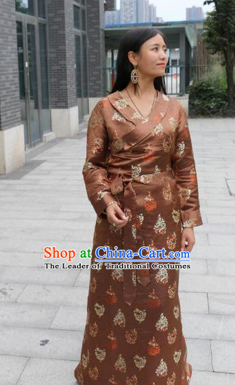 Chinese Traditional Minority Dance Costume Brown Tibetan Robe Zang Nationality Clothing for Women
