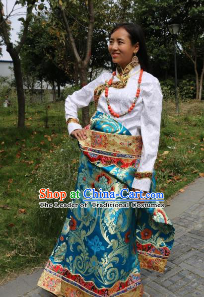 Chinese Traditional Minority Wedding Costume Blue Tibetan Robe Zang Nationality Clothing for Women