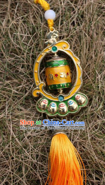 Chinese Zang Nationality Handmade Waist Accessories Prayer Wheel Tibetan Minority Sutra-Canisters