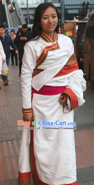 Chinese Traditional Minority Wedding Costume White Tibetan Robe Zang Nationality Clothing for Women