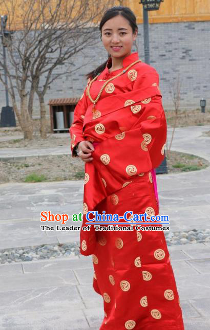 Chinese Traditional Minority Wedding Costume Red Satin Tibetan Robe Zang Nationality Clothing for Women