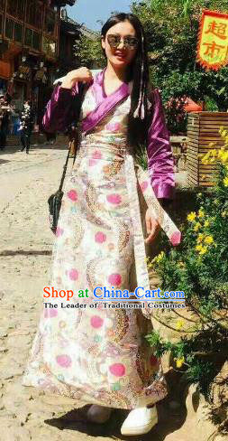 Chinese Traditional Minority Wedding Costume Tibetan Dress Zang Nationality Clothing for Women