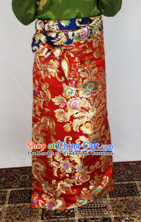 Chinese Traditional Minority Costume Tibetan Red Brocade Skirt Zang Nationality Clothing for Women