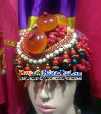 Chinese Zang Nationality Handmade Hair Accessories Tibetan Minority Wedding Headwear for Women