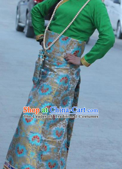 Chinese Traditional Minority Costume Tibetan Blue Brocade Skirt Zang Nationality Clothing for Women