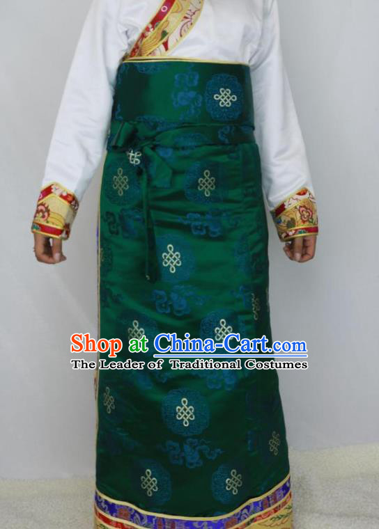 Chinese Traditional Minority Costume Tibetan Green Brocade Skirt Zang Nationality Clothing for Women