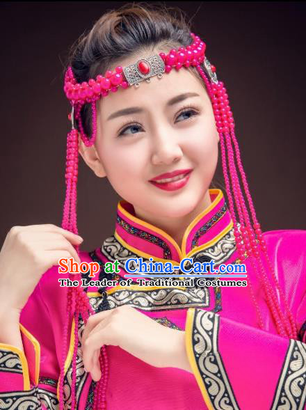 Traditional Chinese Folk Dance Tassel Hair Accessories, Mongolian Minority Rosy Beads Hair Jewelry Dance Headband for Women