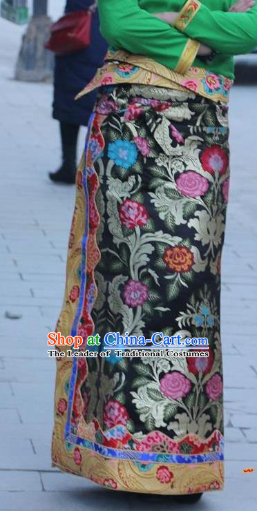 Chinese Traditional Minority Costume Tibetan Black Brocade Skirt Zang Nationality Clothing for Women