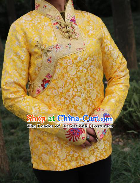 Chinese Traditional Tibetan Minority Costume Yellow Blouse Zang Nationality Clothing for Women
