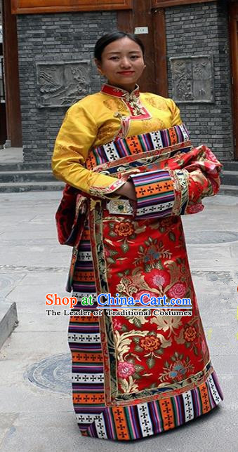 Chinese Traditional Red Tibetan Robe Minority Costume Zang Nationality Clothing for Women